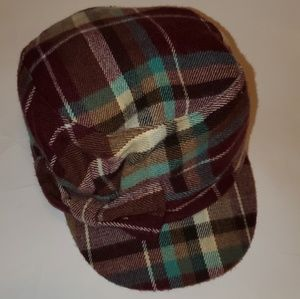 Women's Conductor Style Plaid Hat